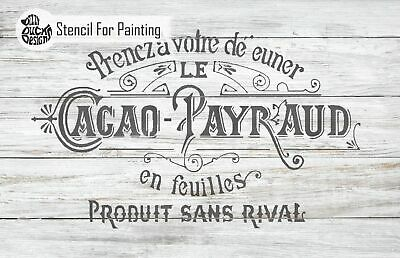 CACAO PAYRAUD French Label Stencil - Furniture Wall Floor Stencil for Painting
