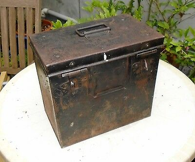 Unusual Vintage Heavy Duty Industrial Metal Carry Box with Plywood Lining. Tools