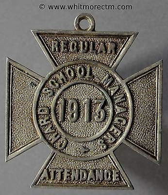 1913 Chard School Managers Medal D361 27mm Silver cross with suspender