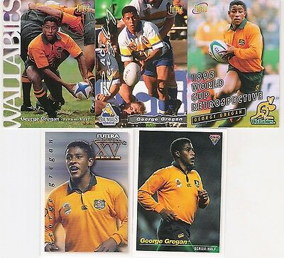1995 And 1996 Futera 5 Cards Of George Gregan