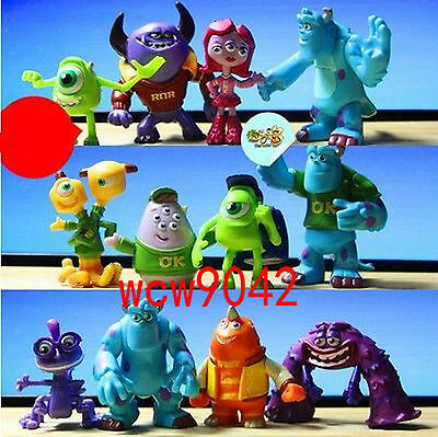 12pcs Set Monsters Inc. Monsters University Mike Sully PVC Figure Toy Loose