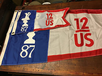 "America's Cup 1987 Flag & Burgee ""Rare Official Pair"" US-12 100% Authentic"