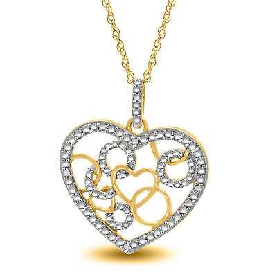 """Natural Diamond Heart Pendant W/18"""" Chain 14k Yellow Gold Over Sterling Silver"""