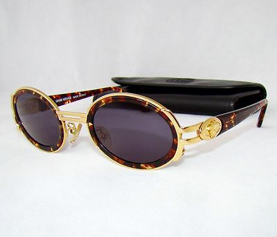 GIANNI VERSACE vintage S02 brown gold vintage sunglasses unisex small oval 570