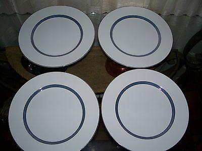 """Sparta by Meito Fine China Four Dinner Plates 10 1/2"""" Blue/Lustra Band Japan"""