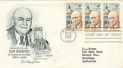 USA First Day of Issue 4c Rayburn strip x 3 to AUSTRALIA Postmark BONHAM 1962