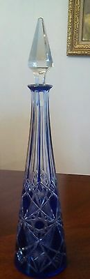 Rare Baccarat Cobalt Blue Cut To Clear Decanter Antique France Crystal