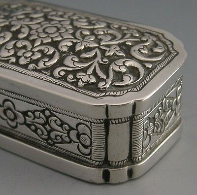 BEAUTIFUL ANGLO INDIAN CEYLON SILVER EMBOSSED SNUFF BOX c1900 ANTIQUE