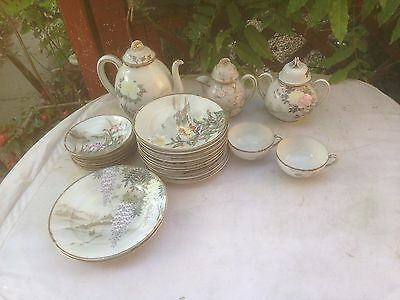 Vintage Japanese China Teapot, cups Noritake? Eggshell? 24 piece set
