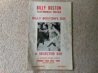 Billy Boston Testimonial Match Souvenir Program Friday 26th July 1968 Signed