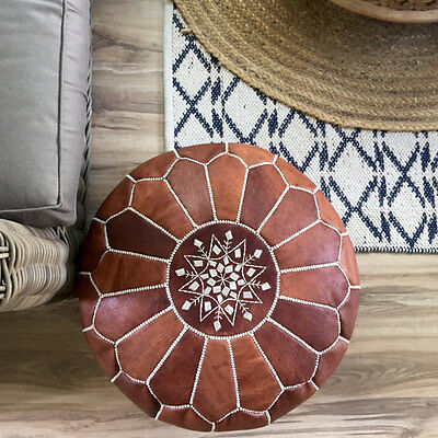 New Moroccan Leather Ottoman Pouffe Pouf Footstool