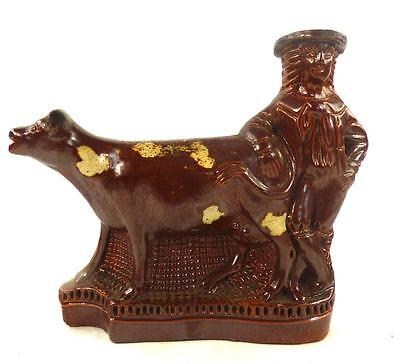 Antique 19Th Century Brown Salt Glazed Figure Of Milkmaid With Cow Creamer