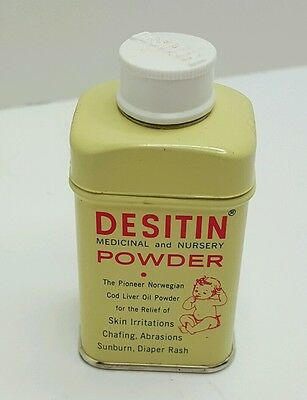 Vintage DESITIN NURSERY POWDER SAMPLE SIZE LITHO TIN U.S.A. FULL NOS
