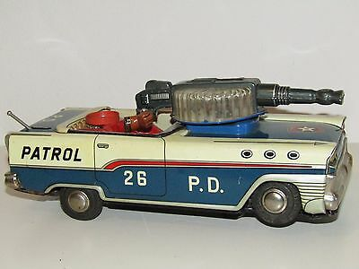 Vintage Made In Japan P.D. 26 Patrol Tin Toys Car For Repair Or Parts RARE!!