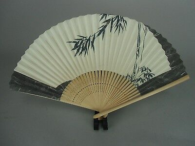 4D110 Japanese Folding Fan Vtg Traditional Hand painted Bamboo leaf Sumie Sensu