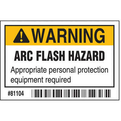 BRADY Polyester Arc Flash Protection Label,2 In. H,PK100, 81104