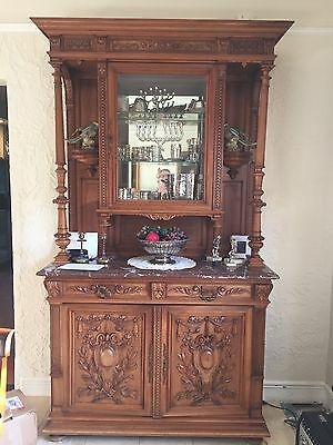 1 Louis XVI Walnut 2 part Buffet with Curio Top Circa 1880. Marble top.