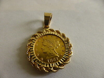 1851 Liberty Head Gold Quarter Eagle Coin $2.50 Two Dollars Fifty 14k GOLD BEZEL