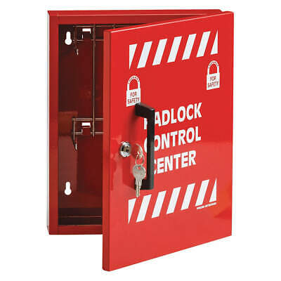 BRADY Steel Lockout Cabinet,Unfilled,10 In H, LR008E, Red/White