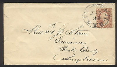 1858 Envelope & Letter with Washington 3 cent Stamp - NY to PA - NICE