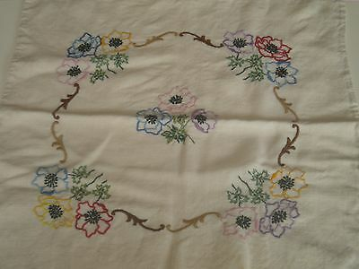 Vintage Hand embroidered cushion cover in 100% cream linen