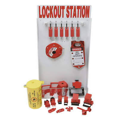 BRADY Polystyrene Lockout Station,Electrical,6 Padlocks, 99706, Red/White
