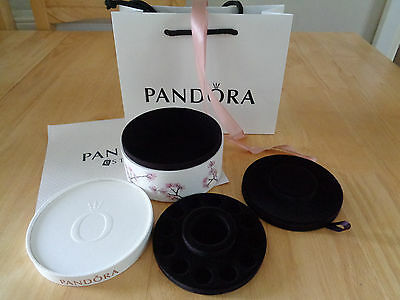 Pandora cherry blossom two tier jewellery box and gift bag