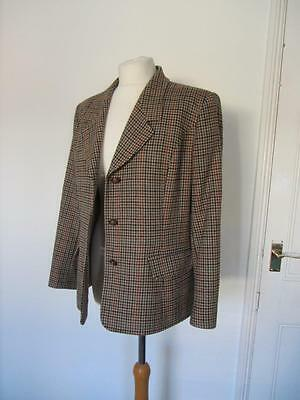 Vintage Eastex Pure New Wool Fitted Brown Check Horsey Hacking Tweed Jacket 16