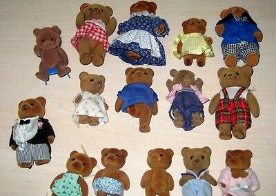 Lot Of 13 Vintage Flocked Bears Calico Critters Sylvanian Families Maple Town