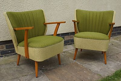 Pair Mid Century Vintage German Cocktail Chairs With Arms Armchairs C1965 Jn17-4