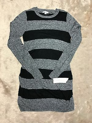 Liz Lange Maternity Sweater Ruched Women's XS Gray Black Striped Soft Tunic #832
