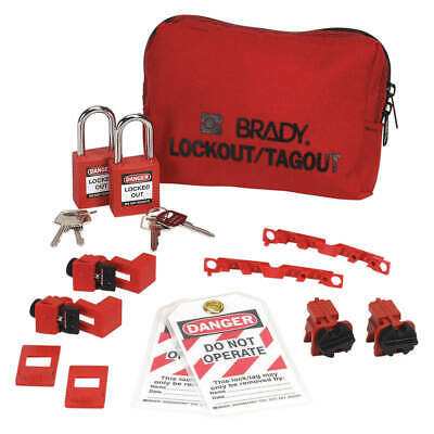 BRADY Portable Lockout Kit,Pouch,Electrical,13, 99302, Red