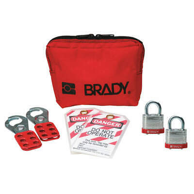 BRADY Portable Lockout Kit,Filled,7,Pouch, 99292, Red