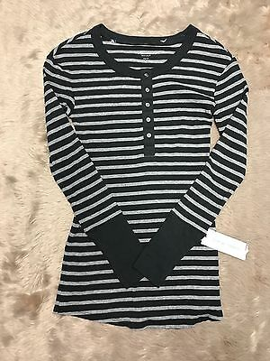 Liz Lange Maternity Sweater Charcoal Gray Striped Women's XS Henley NEW #1105