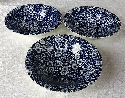 "Burleigh Calico Blue Small Shallow Bowls Dishes 6.25"" 16cm"