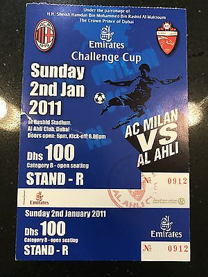 Milan - Al Ahli 2011 Friendly Match Ticket Very Rare