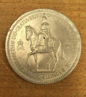 Five Shilling Coin 1953 Vintage Uk Crown