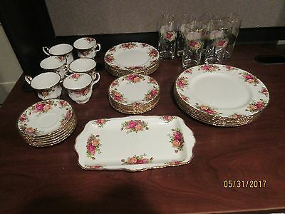 OLD COUNTRY ROSES by ROYAL ALBERT of ENGLAND; PLACE SETTINGS for SIX; 37 PIECES