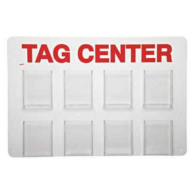 BRADY Acrylic Tag Center,Unfilled,15-3/4 In. H, TC8, White