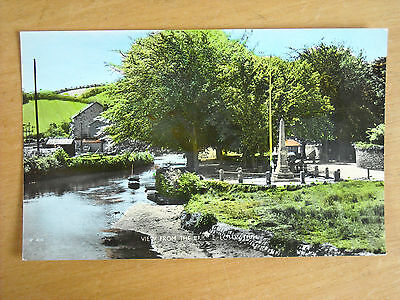 Old Colour Tinted Postcard Of The View From The Bridge , Lostwithiel