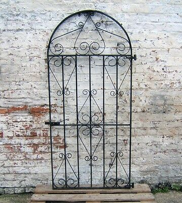 Old Black Wrought Iron Decorative Metal Garden Driveway Single Gate