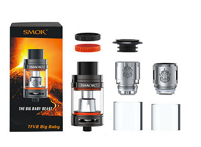 Smok Tfv8 Big Baby Originale 5Ml Black Atomizzatore Top Santone+Rba Incluso