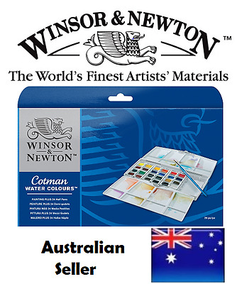 Winsor and Newton Cotman  Painting Plus 24 Half Pans WaterColour Watercolours