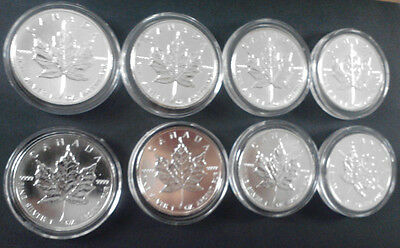 8 x 5 Dollar Canada Maple Fine Silver 1 oz.coins with COA in RCM Sealed Capsule.