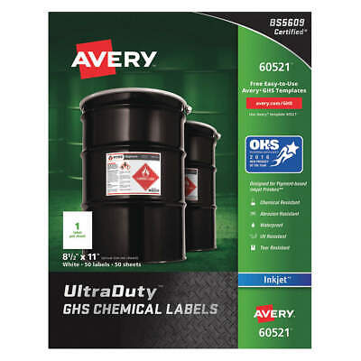 """AVERY Synthetic Film Chem Label,8-1/2""""W x 11""""H,50 Labels,PK50, 60521"""