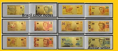 6 Brazil 24Kt Color Gold Banknote 2,5,10,20,50,100 Reais Note Set