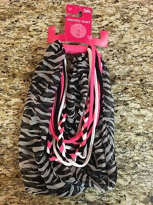 New Justice Eternity Scarf Black Pink White With Zebra Print