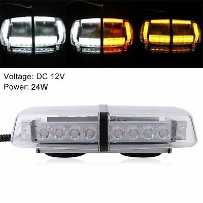 Car 12V 24 LEDs Amber Emergency Recovery Warning Strobe Magnetic Beacon Light NR