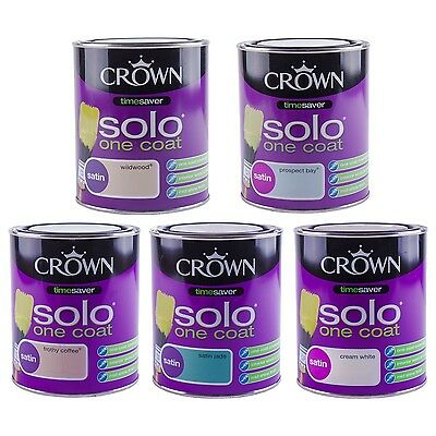 Crown Solo Satin Paint Wood Metals 750ml Tins Decorating