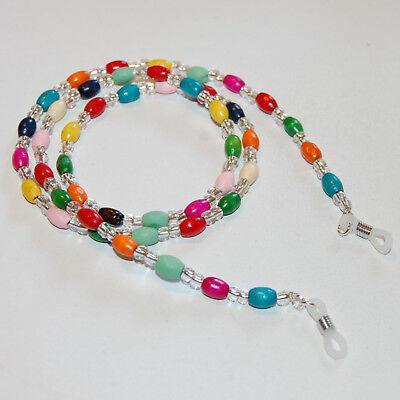 Spectacle/Sun glasses Chain/Cord Mixed Colour Wooden Oval Tube Beads